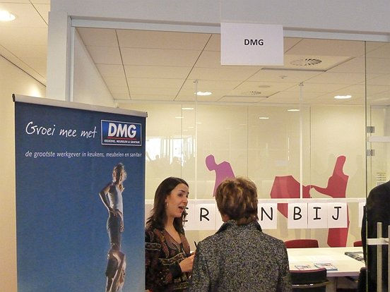 Werkgevers en werkzoekenden raakten met elkaar in gesprek.