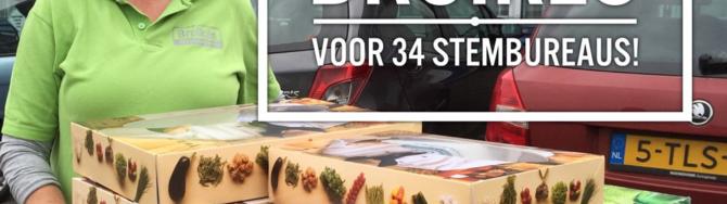 Broikes leverde de lunchpakketten af bij alle stembureaus in de gemeenten Heusden en Waalwijk.