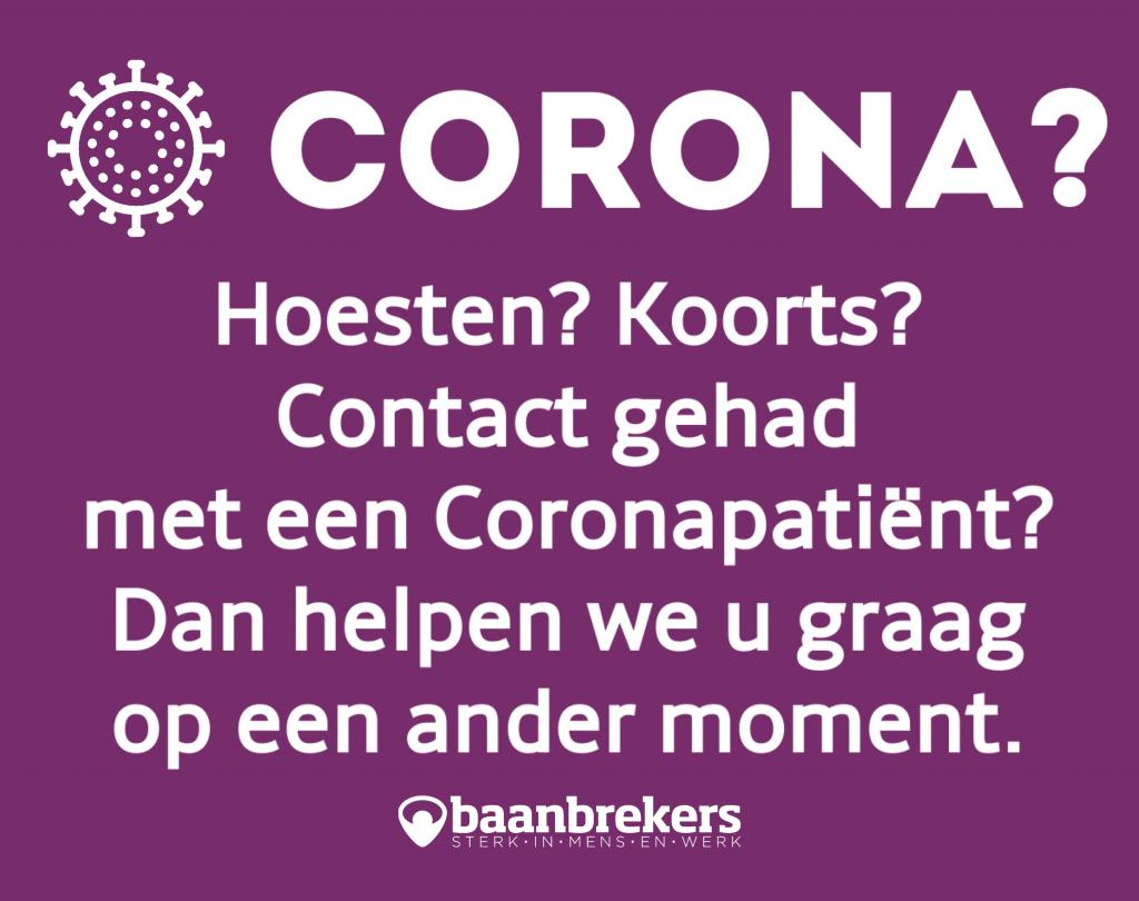 Coronavirus bericht aan bezoekers